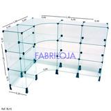 Balcão Vidro Modulado 40x30 Tipo L 1,40m +1,00m 12 Divisória