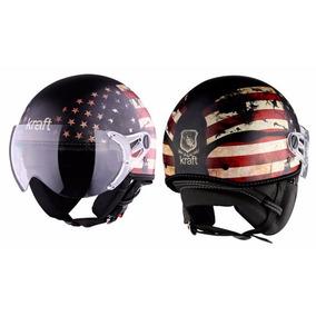 Capacete Kraft Plus Bandeira Usa Moto Custom Harley 56/57/58