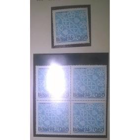 1 Quadra, Um Selo Brasil 1974 Fundo Azul Cerâmica,r$ Cifrado