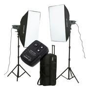 Kit 2 Flash Estudio 300w Visico Soft Box Bolso Emisor Vc801