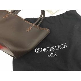 Cartera Importada George Rech Paris Cuero Marrón De Mano