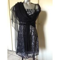 Bello Vestido De Fiesta Gris/negro Talla 38/40