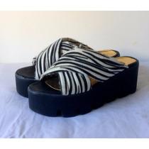 Sandalias Con Plataforma Animal Print Cebra Pinup