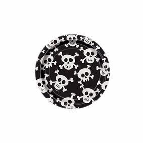 60 Platos Skulls 7 Desechables De Carton Y 6 Manteles Rect.