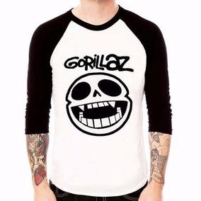 Blusa Camiseta Raglan 3/4 Banda Gorillaz Frete Grátis