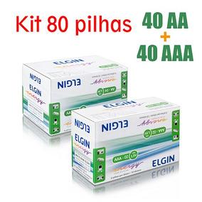 Kit 2 Caixas De Pilhas - 40 Aa + 40 Aaa Alcalinas