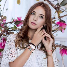 Relógio Feminino Quartzo Dourado Bracelete C/ Pedra E Strass