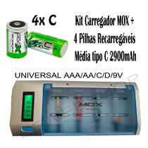 Kit 2 Carregadores Universal + 4 Pilhas Médias C 2900mah Rec