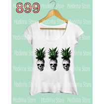 Camiseta Feminina Caveira Abacaxi Estampa Fruta Moda