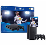 Ps4 Consola Play Station 4 Slim 1 Tb - 2 Mandos - Fifa 18