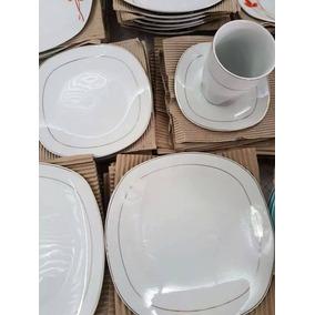 Set De 30 Piezas Platos Cuadrados Y Tazas De Ceramicos