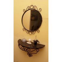 Aparador Suspenso Ferro Maciço Com Moldura Espelho E Granito