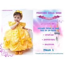 Vestido Bella Princesa Bebe Lindo Disfraz Excelente Calidad