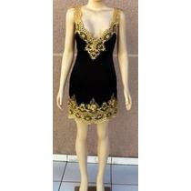 Vestido Curto Em Cetim Preto Com Renda Dourada-107