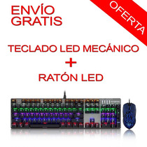 Pack Teclado Mecanico Ck666 Motospeed Y Mouse Led Gamer