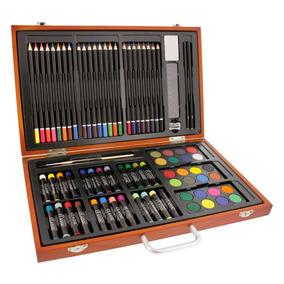Maletin Madera De Arte 82 Piezas Dibujo Pintura Color Pastel