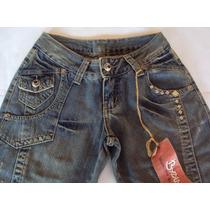 Linda Bermuda Longa Feminina Em Jeans Com Tachas Byzance