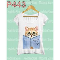 Gato Livro Estampa Moda Camiseta Tshirt Blusa Feminina Look