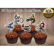 Moto Motocross 50 Apliques Tags Topper P/ Doces
