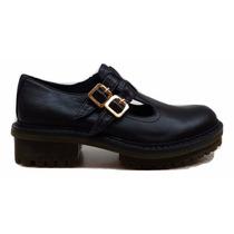 Zapato Natacha Tipo Guillermina Bajo Cuero Negro #1551