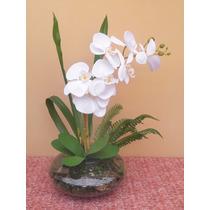 Arranjo Completo Orquídea Branca Em Vaso De Vidro