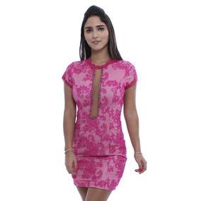 Vestido Rosa Fina Tubinho De Tule Com Renda - Frete Grátis