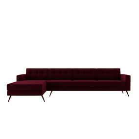 Sofá Novo Moderno Living Chaise Pé Palito 4 Lugar Bordo Roxo