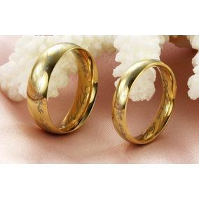 Anel Aliança- Senhor Dos Anéis - Tungstênio Folheado A Ouro