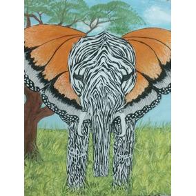 Pintura Minimalista Elefante Monarca