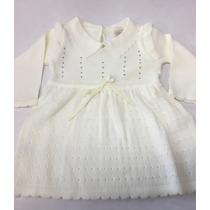 Vestido Bebê Em Lã Detalhe Strass Batizado Tam P M G Gg