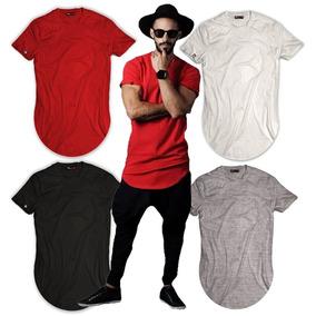 Kit 5 Blusa Long Line Camisetas Alongada Lisa Manga Curta