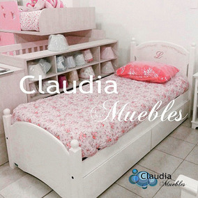 cama laqueada infantil de una plaza claudia muebles
