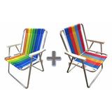 Kit Com 2 Cadeiras De Praia Piscina Chácara Mecg De Alumínio