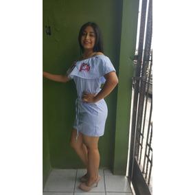 Vestido Rayado Bordado Flores E Vio Gratis Unitalla