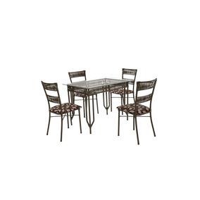 Conjunto De Mesa Decorart 4 Cadeiras Com Tampo De Vidro