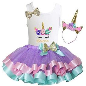 Tutu, Camiseta Y Diadema Diseño Unicornio Para Cumpleaños