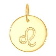 Pingente Ouro 18k Medalha Signo Leão 13mm
