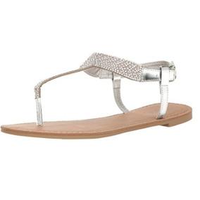 Sandalia Mujer Qupid Plata Aplicaciones Huarache Zapato Dama
