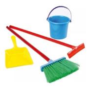 Set Limpieza Infantil Niño X4 Escoba Balde Palita New Plast