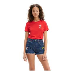 Playera De Mujer Levis X Super Mario Rojo
