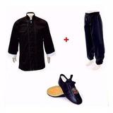 Conjunto Kung Fu Blusão, Calça Trilobal E Sapatilha Ecocouro
