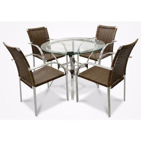 Jogo Conjunto De Mesa E 4 Cadeiras Em Fibra Sintetica