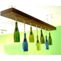 Lámpara Colgante Con Botellas De Vino De Colores