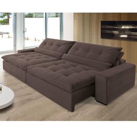 6ac3617f8 Sofá Anjos Confortable Bipartido 248cm 3l Veludo marrom