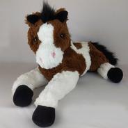 Cavalo De Pelúcia Deitado Malhado Marrom 50cm