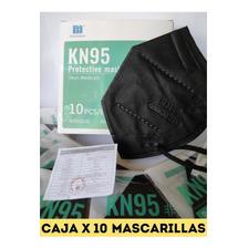Caja De 10 Mascarillas Kn95 N95 Negra Importada 5 Capas
