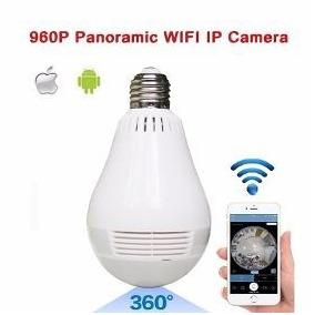 Câmera Ip Segurança Lâmpada Vr 360º Panorâmica Espiã Wifi