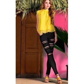 Blusa Amarilla Escote Redondo, Sexy Abertura Trasera, Andrea