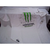 Franela One Industries Monster Energy Blanca Talla L