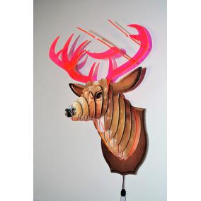 Cabeça De Alce Luminária 3 D Led Decorativa Para Parede